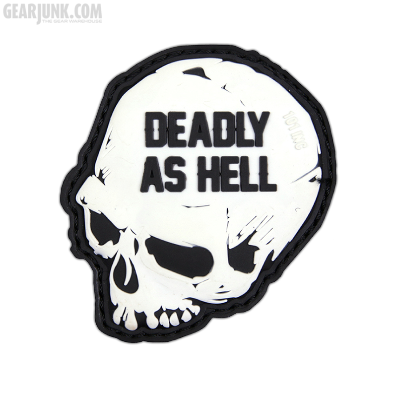 """Patch """"Deadly as Hell"""", weiß"""